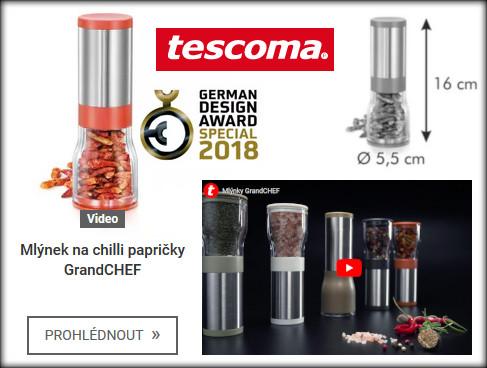 rozměry a video představení mlýnku na chilli Tescoma GrandCHEF