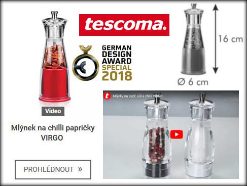 rozměry a video představení mlýnku na chilli Tescoma Virgo