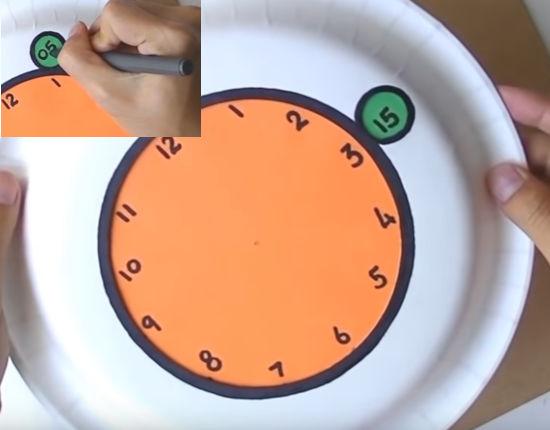 vypisování číslic na ciferníku papírových hodin