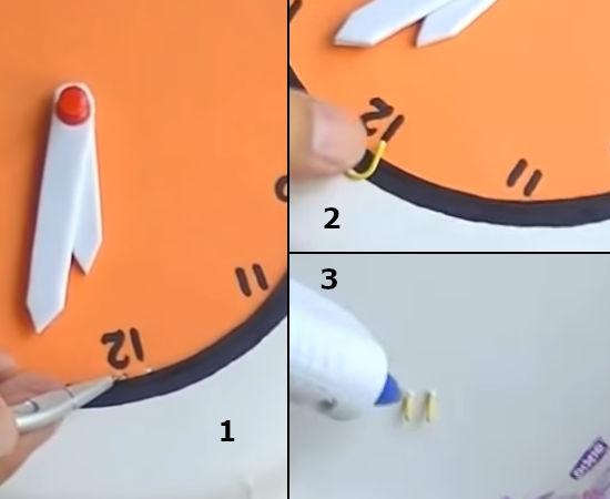 dírky pomocí kružítka a následné nasunutí kancelářské sponky pro uchycení ciferníku papírových hodin