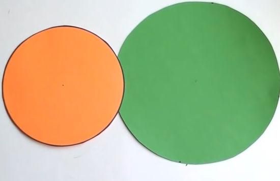 dvě barevná kolečka z papíru určená pro tvoření s dětmi