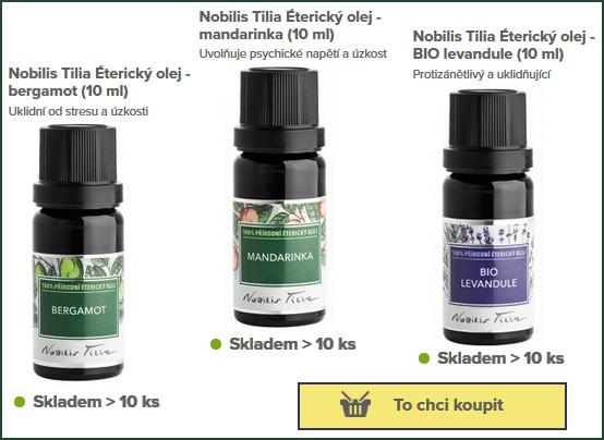 lahvičky s éterickými (esenciálními) oleji Nobilis Tilia k výrobě domácí pleťové masky