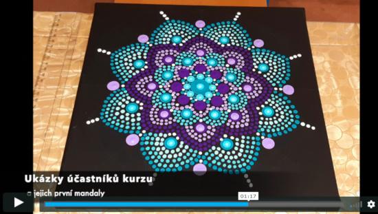 Ukázka tečkované mandaly - vytvořil účastník online kurzu tvorby tečkovaných mandal