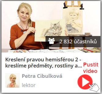 lektorka online video kurzu keslení pravou mozkovou hemisférou ukazuje nakreslenou kočku a portrét dítěte