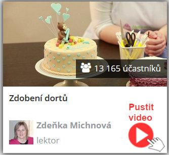vyzdobený dort jako ukázka, co se naučí zájemci v online video kurzu - jak na zdobení dortů