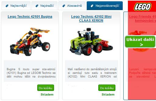 Obrázky LEGO aut - inspirace na nejprodávanější LEGO sety v eshopu