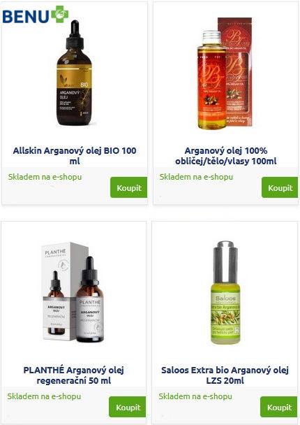 Různé značky kvalitního arganového oleje pro výrobu domácích mýdel