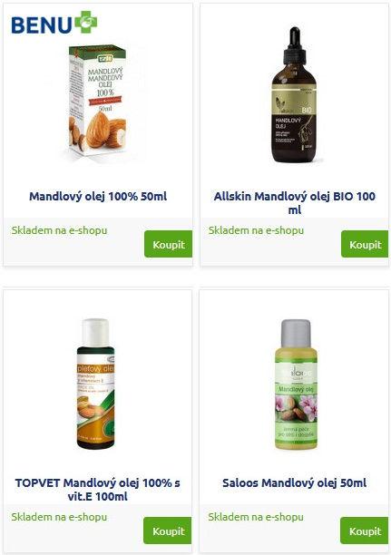 Různé značky mandlového oleje položky eshopu BENU lékárna