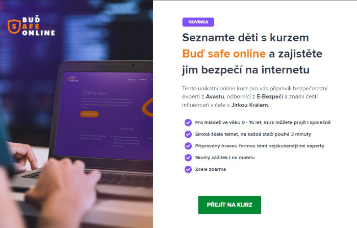 Obsah online kurzu od Youtubera Jirky Krále a Avastu