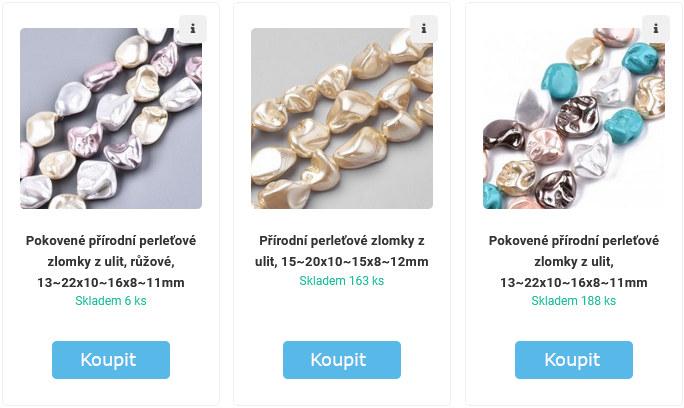 perleťové a perlové korálky ke koupi na eshopu